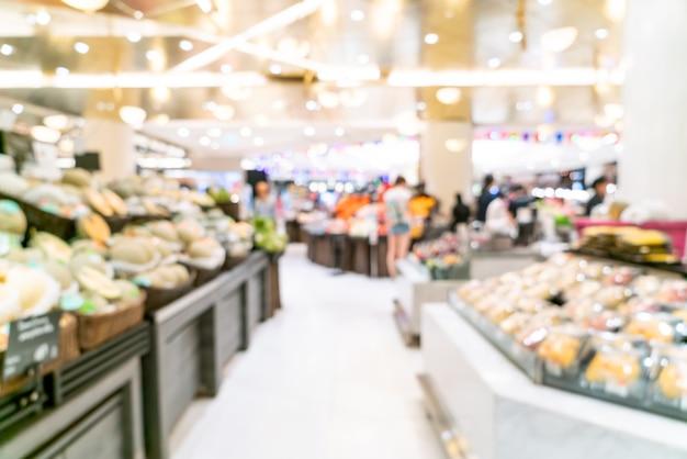Абстрактное размытие в супермаркете для фона Premium Фотографии