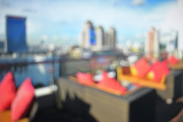 Abstract blurred hotel terrace background. Premium Photo