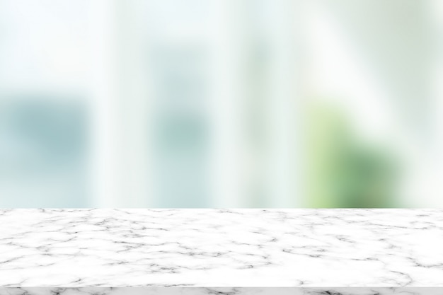 Abstract blurred modern interior with marble surface for show product on display concept Premium Photo