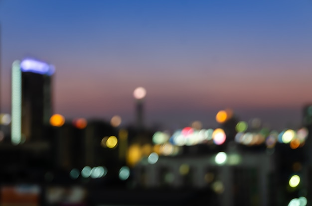 Abstract blurred night downtown city lights Premium Photo
