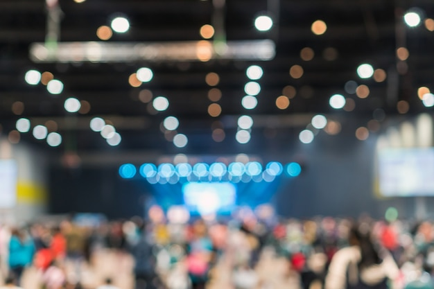 Abstract blurred photo of conference hall or seminar room in exhibition center Premium Photo