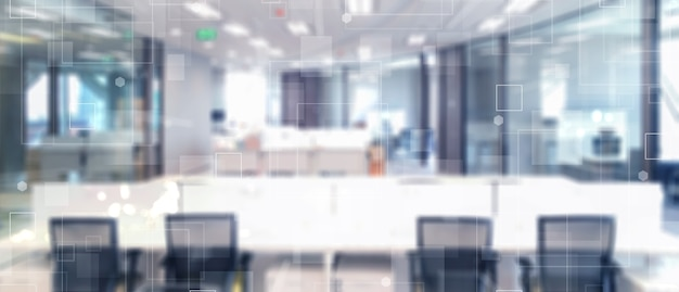 Abstract blurred technology motion interior office space background with futuristic technology connection shape  Premium Photo