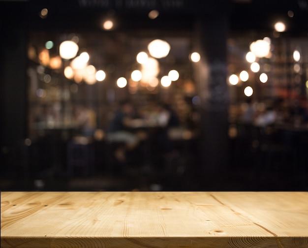Abstract bokeh blur nigh restaurant background Premium Photo