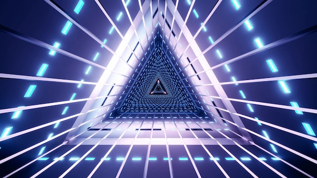 Abstract bright triangle tunnel illuminated with glowing blue lamps Premium Photo