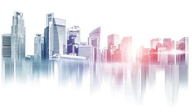 추상 도시 건물 스카이 라인 대도시 지역입니다. 프리미엄 사진