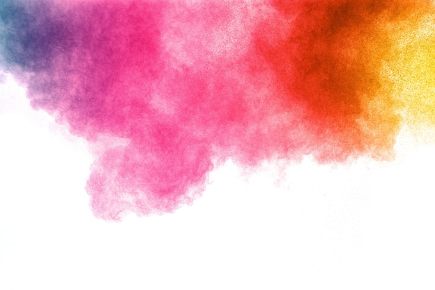 Abstract Color Powder Explosion On White Background Freeze