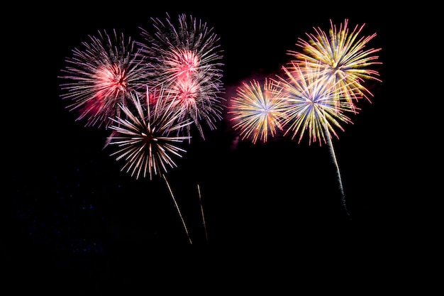 Abstract colored firework background with free space for text. Premium Photo