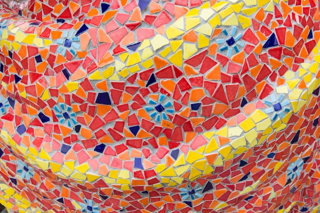 Abstract, colorful ceramic tile patterns in temple (wat ban rai) at dan khun thot district, nakhonratchasima province, thailand Premium Photo