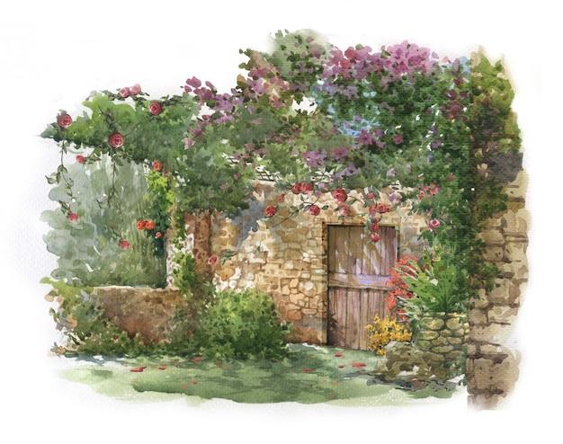 抽象的なカラフルな花と水彩画の家。 Premium写真