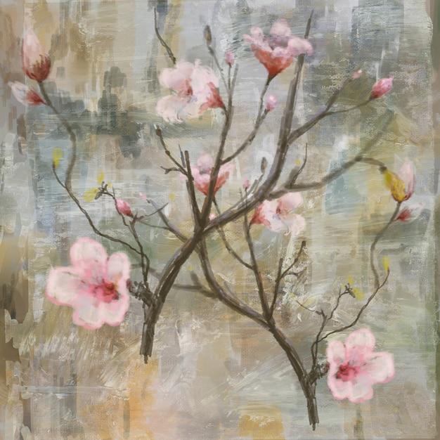 抽象的なカラフルな花の絵。春の色とりどりのイラスト Premium写真