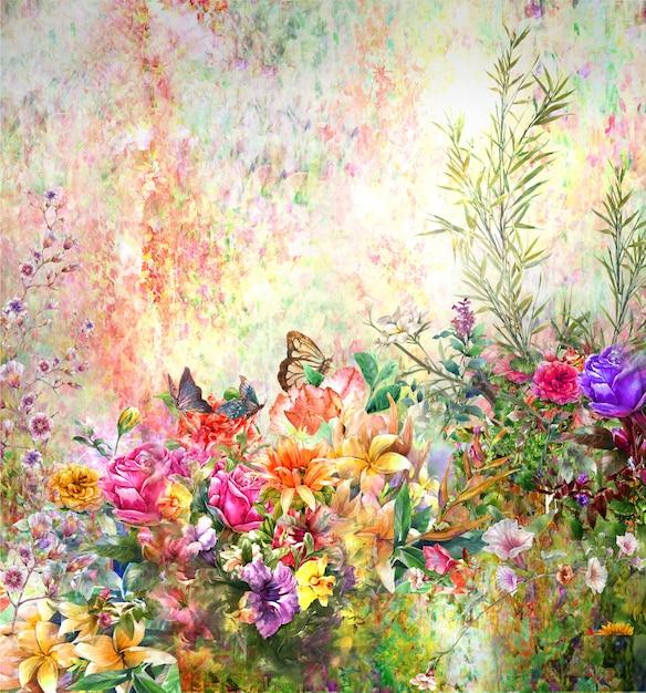 抽象的なカラフルな花の水彩画。自然の中で色とりどりの春 Premium写真