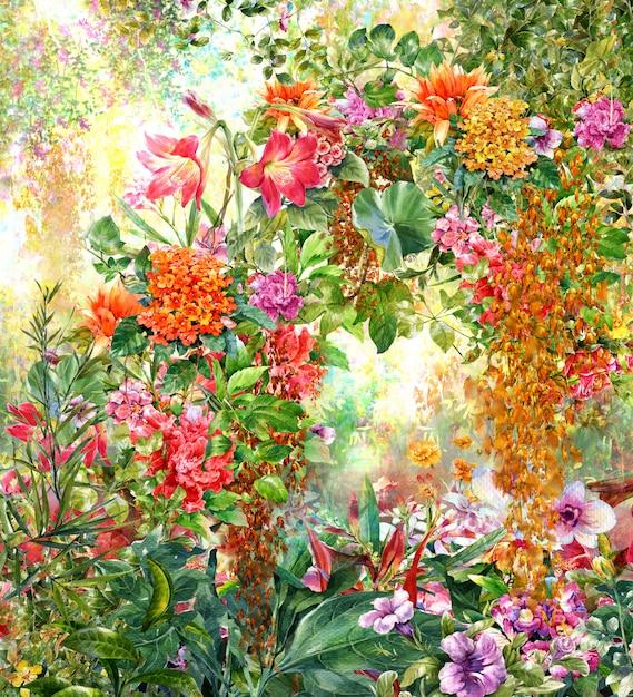 抽象的なカラフルな花の水彩画。色とりどりの春 Premium写真