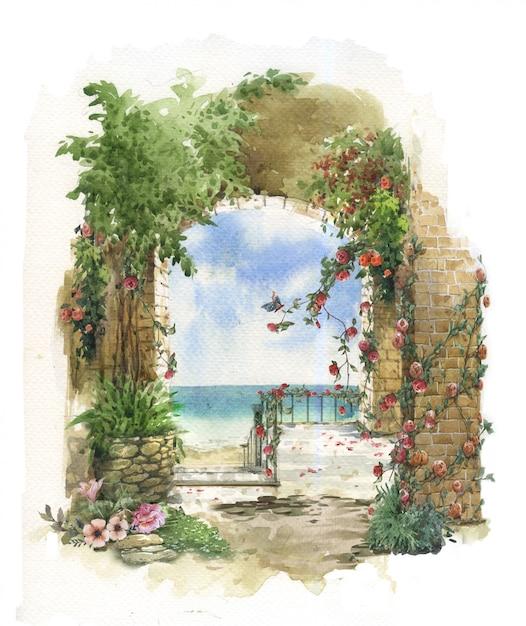 Абстрактная красочная цветочная акварельная живопись. весна со зданиями и стенами возле моря Premium Фотографии