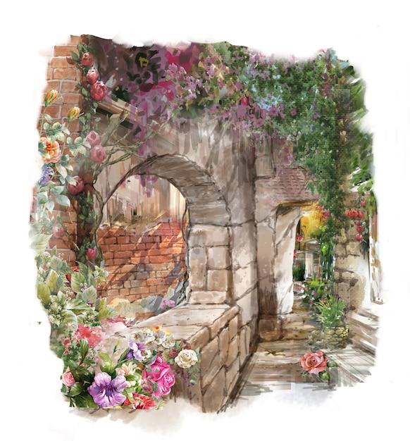 抽象的なカラフルな花の水彩画。建物と壁のある春 Premium写真