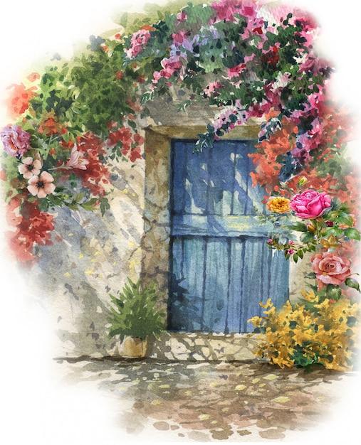 抽象的なカラフルな花の水彩画 Premium写真