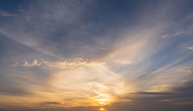 Abstract colorful sky with sunset view in the evening or sunrise and clouds background Premium Photo