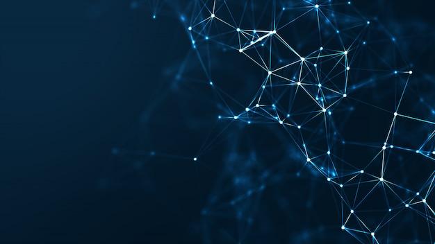 추상 통신 및 기술 네트워크 개념입니다. 프리미엄 사진