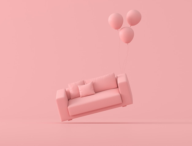 Abstract conceptual idea of pink sofa is floating up by balloons on pink background, minimal style. 3d rendering Premium Photo