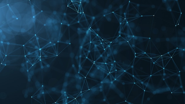 Abstract connected dots and lines on blue background. Premium Photo