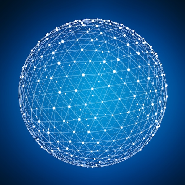 Abstract connection web sphere with spot and lines 3d rendering Premium Photo