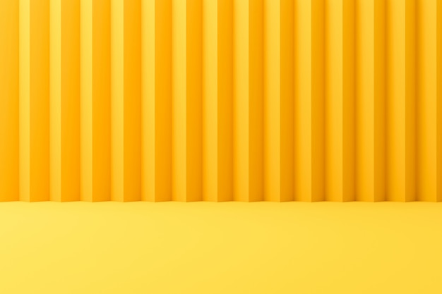 Abstract contemporary backdrops or yellow display on vivid summer background with striped wall. 3d r