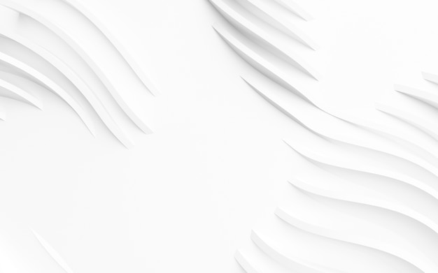 抽象的な湾曲した形状。白い円形の背景。抽象的な背景。 3dイラスト Premium写真