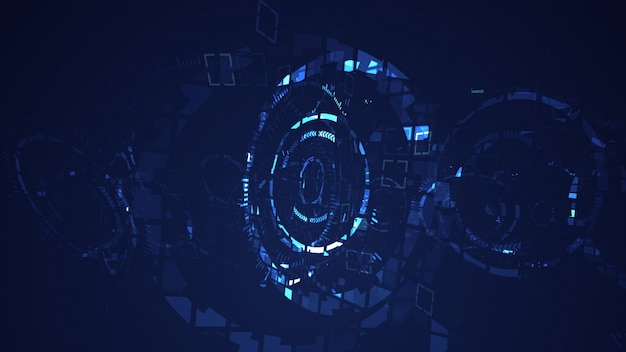Abstract cyber circle digital technology graphic background Premium Photo