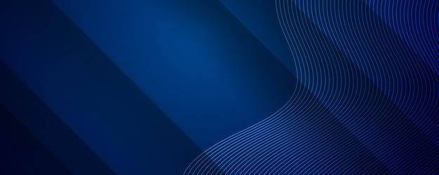 ダイナミックなウェーブラインストライプ効果を持つ抽象的な濃い青の背景 Premium写真