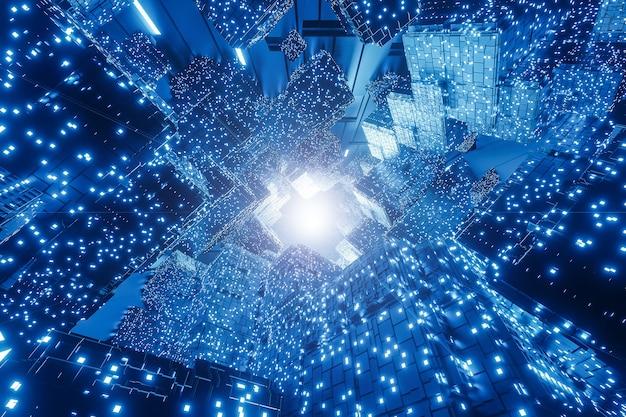 抽象的なデジタル未来のsfの背景、ビッグデータ、コンピューターハードウェア、ネットワーク、 Premium写真