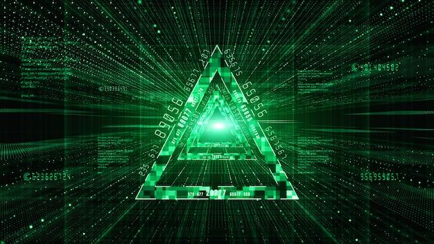 Abstract digital matrix particles flow background Premium Photo
