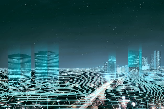 Abstract digital network connection Premium Photo