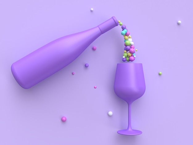 Abstract drink colorful many ball wine glass and bottle 3d