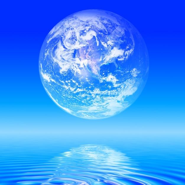 바다 위의 추상 지구 행성 무료 사진
