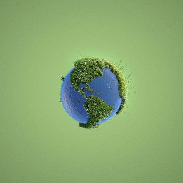 Abstract environment representation on green background Free Photo