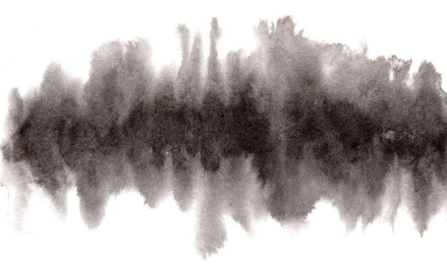 Абстрактные выразительные мокрые размытия черными чернилами или акварельными горизонтальными пятнами Premium Фотографии