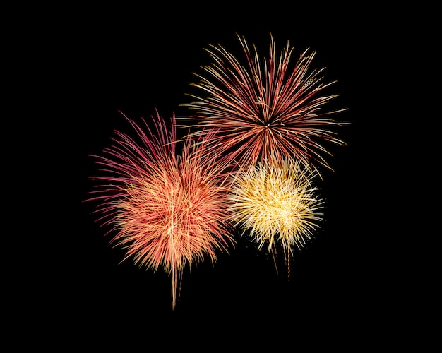 Abstract festive colorful fireworks explosion on black background Premium Photo