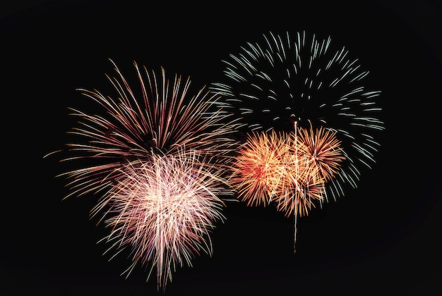 Abstract festive colorful fireworks explosion Premium Photo