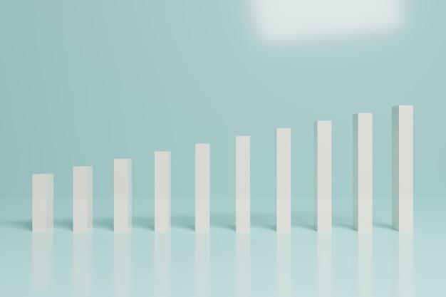 Абстрактный финансовый фондовый рынок гистограмма бизнес 3d-рендеринга Premium Фотографии