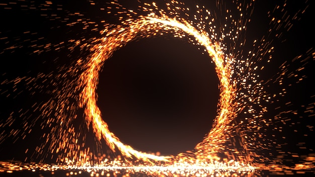 Abstract fire ring of fire flame fireworks burning. sparking fire circle pattern or cold fire or fireworks in black background. 3d illustration Premium Photo