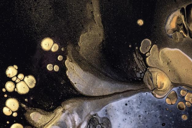 추상 유체 예술 배경 검정과 황금 색상. 그라데이션 캔버스에 액체 아크릴 페인팅. 패턴으로 수채화 배경입니다. 프리미엄 사진