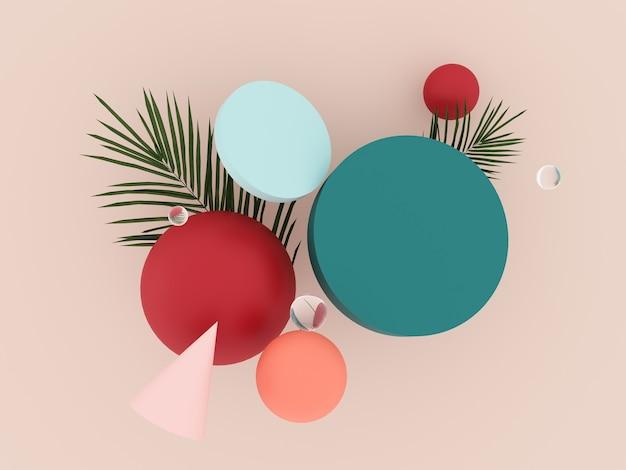 Абстрактные, летающие геометрические объекты и тропические пальмовые листья - 3d визуализация. Premium Фотографии