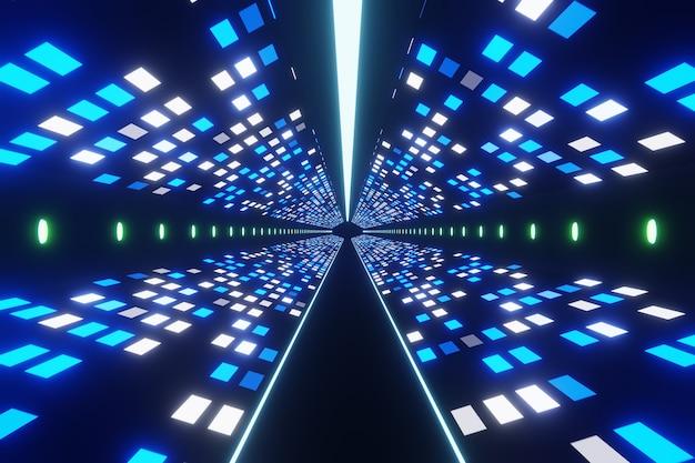 抽象的な未来的なデジタルテクノロジックエイリアンスペーストンネルの背景3dレンダリング Premium写真