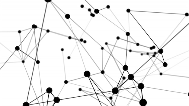 Abstract futuristic dot circle and line molecule network structure black color white background Premium Photo