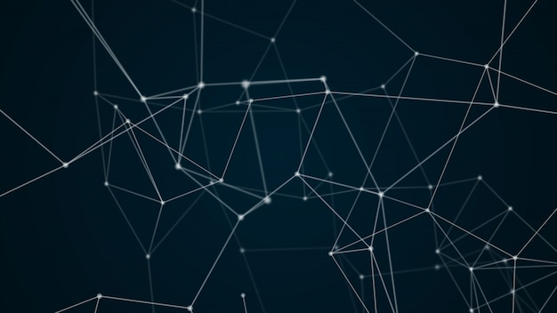 Abstract futuristic molecule structure blue color black background Premium Photo