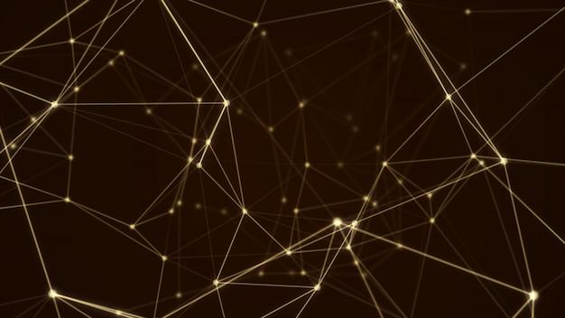 Abstract futuristic molecule structure gold color black background Premium Photo