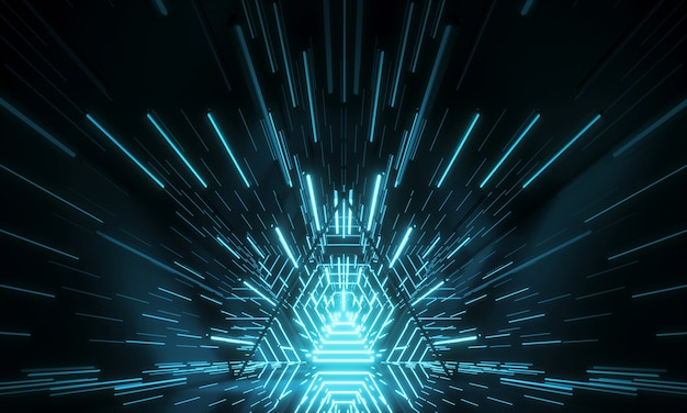 Абстрактное понятие футуристической технологии. неоновый шестиугольник туннель современный фон. флуоресцентные светящиеся линии ультрафиолета. 3d рендеринг Premium Фотографии