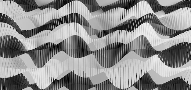 Abstract geometric black and white wave background Premium Photo