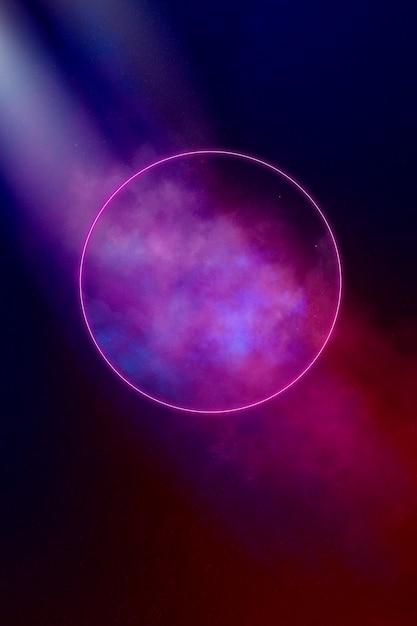 Abstract geometric circle neon glow background Premium Photo