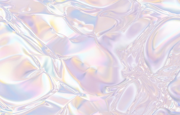 Abstract geometric crystal background, iridescent texture, faceted gem, liquid. 3d render. Premium Photo