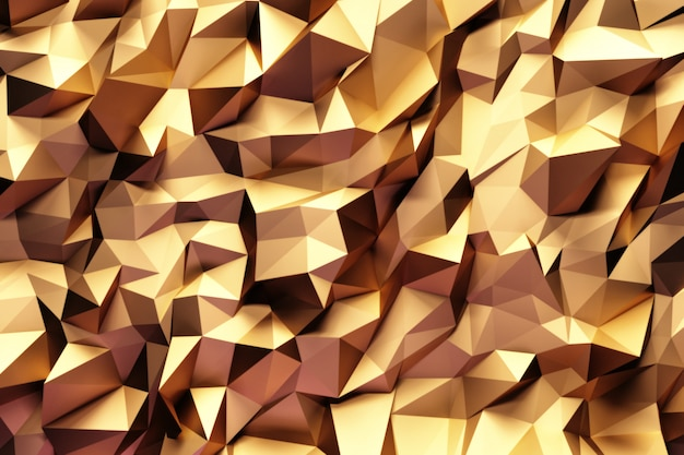 Abstract geometric pattern with golden three dimensional triangles. Premium Photo